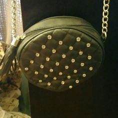 Black purse Cute chic small black purse with 31 studs in front of it. Set of black and gold on the buckle Bags Shoulder Bags