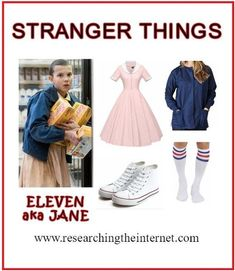 Diy stranger things costume eleven cosplay researching the internet -- it&a Eleven Stranger Things Costume, Stranger Things Halloween Costume, Stranger Things Shirt, Stranger Things Netflix, Meme Costume, Cosplay Costume, Costume Ideas, Disfraces Stranger Things, Eleven Halloween Costume