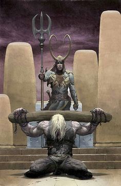 Thor & Loki... This is actually the artwork on a comic I have. Love it