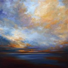 "Original art for sale at UGallery.com | Coastal Clouds #10 by Sheila Finch | $975 | oil painting | 20"" h x 20"" w 