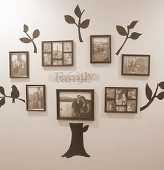 Family tree idea (printable patterns included for the trunk and branches.)  <3