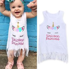 Rorychen Newest Arrivals Hot Infant Newborn Toddler Kid Baby Girls Unicorn Dresses Clothes Party Pageant Lucky Child Dress 2-6T //Price: $9.95 // #fashionkids
