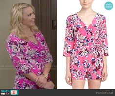 Gabi's pink floral romper on Young and Hungry.  Outfit Details: http://wornontv.net/51727/ #YoungandHungry