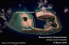Satellite images show China expanding islands in the Paracels, South China Sea. http://thediplomat.com/2015/04/south-china-sea-china-is-building-on-the-paracels-as-well/