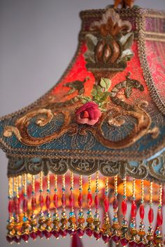 Victorian Lampshade with Dragons and Roses
