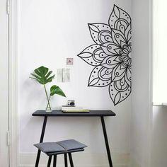 Wall Painting Decor, Diy Wall Art, Bedroom Murals, Wall Murals, Wall Paint Inspiration, Simple Wall Paintings, Mandala Painting, Mandala On Wall, Wall Art Wallpaper