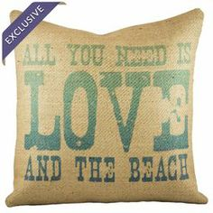 "Bring beach-chic style to your sofa, chaise, or arm chair with this charming pillow, handcrafted from burlap and showcasing an ombre typographic motif.      Product: PillowConstruction Material: Burlap coverColor: Beige and turquoiseFeatures:  Handmade by TheWatsonShop exclusively for Joss & MainZipper enclosure Insert includedMade in the USATypographic motif Dimensions: 16"" x 16""Cleaning and Care: Spot clean only"
