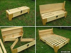I will make this some day. Mission acquired.                                                                                                                                                      More Sofa Furniture, Nomadic Furniture, Handmade Furniture, Furniture Ideas, Furniture Design, Folding Bed Frame, Bed Frame Bench, Folding Beds, Fold Out Beds
