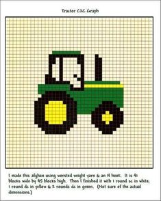 pixel art tracteur : +31 Idées et designs pour vous inspirer en images Baby Knitting Patterns, Knitting Charts, Crochet Blanket Patterns, Knitting Stitches, Crochet Pattern, Free Knitting, Cross Stitch Baby, Cross Stitch Charts, Cross Stitch Designs