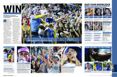 schools spirit design ~big crowd shot ~close ups with caps ~one color at edge of page and carried through ~eye line clear Yearbook Staff, Yearbook Pages, Yearbook Spreads, Yearbook Covers, High School Yearbook, Yearbook Theme, Yearbook Design Layout, Yearbook Layouts, Yearbook Ideas