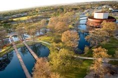 San Marcos, TX - Texas State campus. The orange round building was the Theatre Dept.