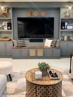 Hide the TV components {and still use your remote!} Built In Tv Cabinet, Wood Cabinet Doors, Cabinet Fronts, Wood Cabinets, Fireplace Built Ins, Old Fireplace, Garage Makeover, Cabinet Makeover, Built In Media Center