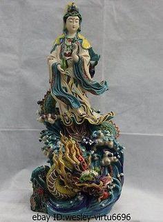 Taiwan-Koji-Cochin-pottery-WuCai-porcelain-Kwan-yin-Guan-Yin-Ride-Dragon-Statue