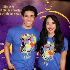 Aladdin stars Adam Jacobs and Courtney Reed show off T-shirts by Broadway.com resident artist Justin 'Squigs' Robertson