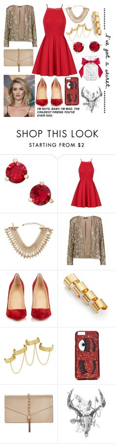 """""""Fun and red"""" by jumainakmir ❤ liked on Polyvore featuring Kate Spade, Chi Chi, Lydell NYC, Tart, Christian Louboutin, Maison Margiela, House of Harlow 1960, LYDC, Victoria's Secret and Whiteley"""