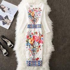 4Xl 3Xl Size Plus Dresses Vintage Floral Dress Bodycon Party Office Sexy  Casual Women Autumn Winter c786fabcd063