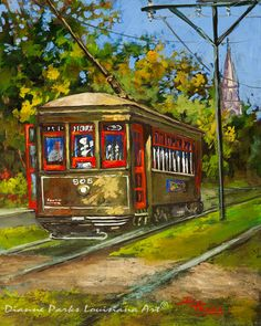 New Orleans Art, St. Charles Streetcar, Old Streetcar Painting, St. Charles Avenue, New Orleans Old Trolley Line - 'St. Charles No. Louisiana Art, New Orleans Art, New Orleans French Quarter, Car Painting, Original Paintings, Acrylic Paintings, Fine Art Prints, Architecture, La Art