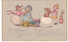 Vintage Easter postcard - little girls dress up for Easter, while a little boy dances with a rabbit.