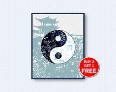 Yin Yang Poster, Yin Yang Watercolor, Yin Yang, Symbol Poster, Buddhism, Watercolor Art, Nature, Kinder, Wall Decor, Home Decor by TheWoodenKat on Etsy