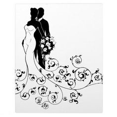 Bride and Groom Wedding Bridal Dress Silhouette Plaque - black gifts unique cool diy customize personalize