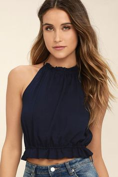 The Lulus Nostalgia Navy Blue Crop Top has us feeling sentimental for sun-filled days by the seaside! Textured, woven fabric forms this breezy crop top with a drawstring neckline and hem that tie atop an open back. Navy Blue Crop Top, Look Fashion, Fashion Outfits, Fashion Trends, Europe Fashion, Creation Couture, Lace Bikini, Blouse Styles, Ladies Dress Design