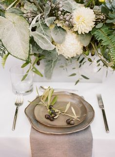 organic industrial wedding place setting with olive decorations | SouthBound Bride | http://www.southboundbride.com/wild-industrial-wedding-inspiration | Credits: Jenna Henderson & Cedarwood Weddings
