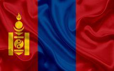 Download wallpapers Flag of Mongolia, 4k, silk texture, Asia, Mongolian flag, national flag, Mongolia
