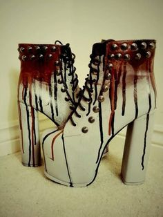 shoes gothic boots goth blood bloody platform shoes