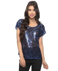 Sequin Front Woven Top - StyleSays