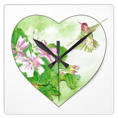 Original Watercolor Rufous Hummingbird Bird Square Wall Clock