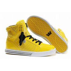 Black and yellow hightop booties