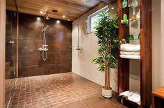 omakotitalo-hirsitalo-ruskeakylpyhuone Brown Bathroom Decor, Tallit, Bathtub, Haku, Furniture, Home Decor, Bathrooms, Decoration, Google