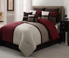 Artwork of California King Bed Comforter Sets Bringing Refinement in Your Bedroom Ideas Gold Bedroom, Small Room Bedroom, Bedroom Ideas, Red Bedroom Decor, Dorm Room, Bedroom Comforter Sets, Queen Comforter Sets, Bed Cover Design, California King Bedding