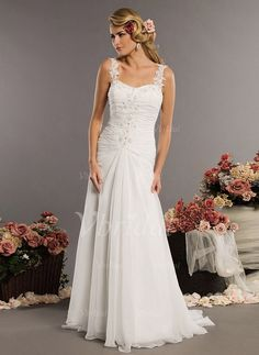 Wedding Dresses - $162.99 - A-Line/Princess Sweetheart Court Train Chiffon Wedding Dress With Ruffle Lace Beading (00205000031)