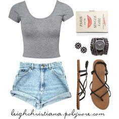 I  woke up like this- summer time look. High waisted shorts, crop top, sandals.