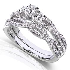 Round Diamond Braided Bridal Set 1/2 Carat (ctw) in 14k White Gold