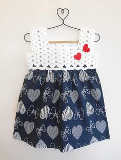 Buy vy Blue White Navy Heart Printed Cotton Dress with Crochet Yoke Knitting Kids Dresses/Jumpsuits Fun in the Sun dresses details for Online at Jaypore.com