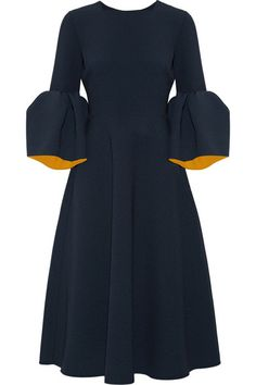 Navy and marigold bonded stretch-crepe Concealed hook and zip fastening at back 97% polyester, 3% elastane; lining: 76% acetate, 18% silk, 6% polyamide Dry clean Made in the UKLarge to size. See Size & Fit notes.