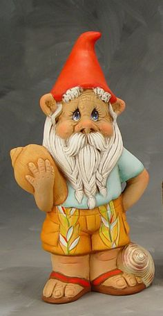 Sam Small Beach Gnome - Unfinished Ceramic Crafts for Painting