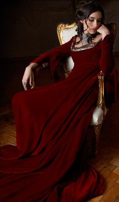 Long sleeved floor length GORGEOUS red velvet gown..