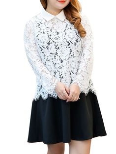 Plus Size Doll Collar Lace Hollow Out Blouse And Skater Dress