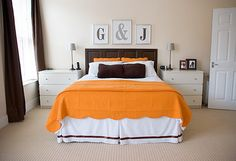 monogram. Hang frames on our headboard? Worth a try!