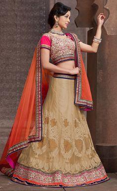 USD 114.35 Beige Net Wedding Lehenga Choli 43675