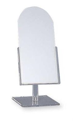 Tilting Counter Top Mirrors ,Tilting Counter Mirrors Dimensions: X Mirror Stands Slim-line Tilting Counter Top Mirror Rests in Adjustable-tilt Clear Acrylic Frame and Base. These Mirrors Conserve Counter Space Without Sacrificing Store Counter, Counter Top, Acrylic Frames, Clear Acrylic, Dance Shops, Hat Stores, Standing Mirror, Counter Space, Jewelry Organization