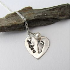 Baby Footprint Necklace Your Child's Actual by EarthshineDesigns1