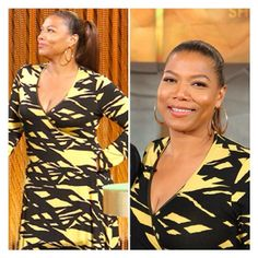ALWAYS love when the Queen wears #RachelPally! Seen here on the #QLshow in her Long Sleeve Wrap Dress in Tigers Eye Reflection