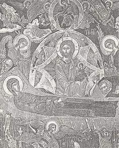 Thomas Apostel.. Illustratie. Maria is gestorven. Achter haar sterfbed staat Jezus met Maria's ziel op zijn arm. Aan hoofd- en voeteneind een treurende apostel. Engelen met vleugels in de lucht. Boven in een cirkel ('de hemel') zit Maria. Zij geeft een kledingstuk aan Thomas (links onder haar) die juist in een wolk langsvliegt. Links van hem nog een leerling met een engel onderweg.