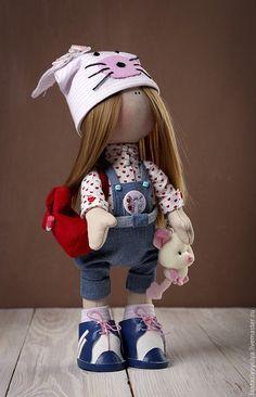 Купить Интерьерная текстильная кукла ручной работы - комбинированный, интерьерная кукла, текстильная кукла