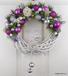EXCLUSIVE XMAS CHRISTMAS WREATH PINK WHITE SILVER HANDMADE