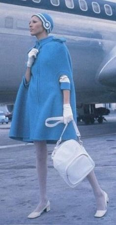 1969 -- Olympic Airlines Uniform by Pierre Cardin Pierre Cardin was the go-to ma. 1969 — Olympic Airlines Uniform by Pierre Cardin Pierre Cardin was the go-to man for futuristic f 60s And 70s Fashion, Mod Fashion, Fashion Photo, Vintage Fashion, Space Fashion, Sporty Fashion, Gothic Fashion, Fashion Women, Pierre Cardin